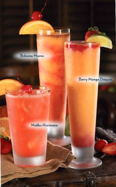 "According to a bartender at Red Lobster, they use a mix called ""mango passion"" ( just a tropical blend of mango and berries) with a shot of Captain Morgan and blend with ice. A strawberry syrup or grenadine is plashed around the inside of the glass. Party Drinks, Cocktail Drinks, Fun Drinks, Cocktail Recipes, Drink Recipes, Secret Menu, Refreshing Drinks, Summer Drinks, Smoothies"