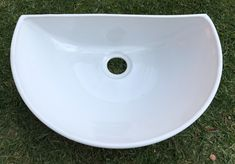 Ceramic basin, prep bowl. This item is handmade with stoneware pottery clay for bathroom, kitchen, braai area and more. Half / 3/4 size basin in white. Basin / prep bowl without a rim, for standing on the counter. Suitable for indoors and outside.