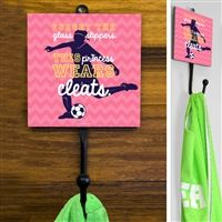This exclusive Soccer Sport Hook is made from hand-forged steel and features a customized printed tile. Hang your coat, hats, soccer pinnies, and medals in style. Soccer Room Decor, Forged Steel, Tile, Display, Sport, Printed, Hats, Design, Floor Space