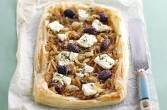 With a crunchy puff pastry base, this sweet onion, olive and goat's cheese tart will make your mouth water!