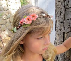 Angel of the Morning flower girl wreath  peach by BohoHaloCompany, $18.00