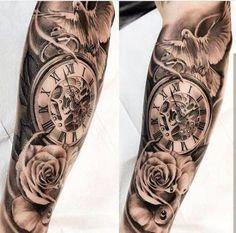 tattoos for men, wrist rose tattoo, wrist hour tattoo, best tattoos for men - My list of best tattoo models Clock Tattoo Sleeve, Best Sleeve Tattoos, Tattoo Sleeve Designs, Clock Tattoos, Sleeve Tattoo Men, Tattoo Designs For Men, Clock Tattoo Design, Tattoo Life, Diy Tattoo