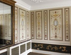Hand Painted Wallpaper, Hand Painted Walls, Unique Wallpaper, Custom Wallpaper, Dining Room Wallpaper, Bathroom Wallpaper, Window Shutters Inside, Fresco, Georgian Homes