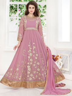 Old Rose Embroidered Anarkali Suit