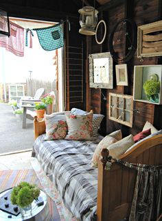 This she shed is decked out with recycled finds like upcycled windows hanging on the walls. I want a she shed. She Sheds, Woman Cave, Lady Cave, Potting Sheds, Building A Shed, Green Building, Shed Storage, Shed Plans, Interior Exterior