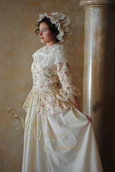 Colonial 18th Century Abigail Adams Dress Gown late 1700s Day outfit Lace-up front. $214.95, via Etsy.