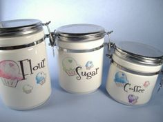 Super Mega Cupcake Kitchen Canisters by inhope on Etsy