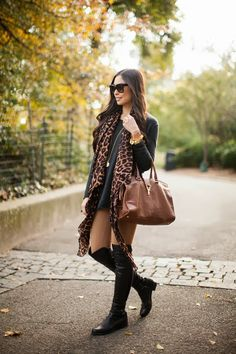 Leopard scarf, tan jeans and black boots from With Love From Kat: Outfits