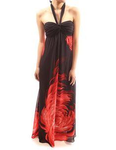 PattyBoutik Floral Halter Empire Waist Chiffon Summer Beach Sun Maxi Dress