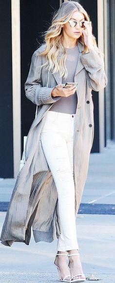 Who What Wear - Gigi Hadid - Grey Long Silk Coat Celebrity Style Inspo