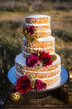 naked fall wedding cake with marsala details