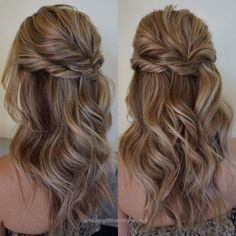 Splendid Pretty Half up half down hairstyles – Pretty partial updo wedding hairstyle is a great options for the modern bride from flowy boho and clean contemporary  The post  Pretty Half up half ..
