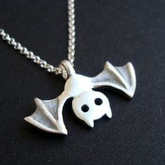 Halloween Bat Necklace Bat Jewelry Vampire Jewelry Goth Jewelry sterling silver…