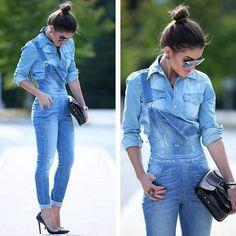 Jardineira jeans com camisa jeans, dicas de moda, look total jeans