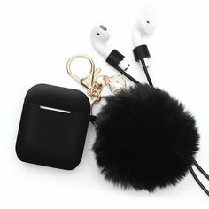 Airpods Case - BlUEWIND Drop Proof Air Pods Protective Case Cover Silicone Skin, Cute Fur Ball Airpods Keychain/Strap, Apple Airpods Accessories, Best Gift for Girls and Women, Black Ipod Cases, Iphone Phone Cases, Buy Iphone, Apple Tumblr, Fone Apple, Accessoires Iphone, Air Pods, Iphone Accessories, Mobile Accessories