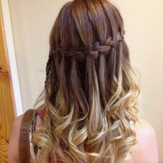 Ombré Waterfall braid Hair Makeup ❤ liked on Polyvore featuring beauty products, haircare, hair, hairstyles, hair styles, beauty and cabelos