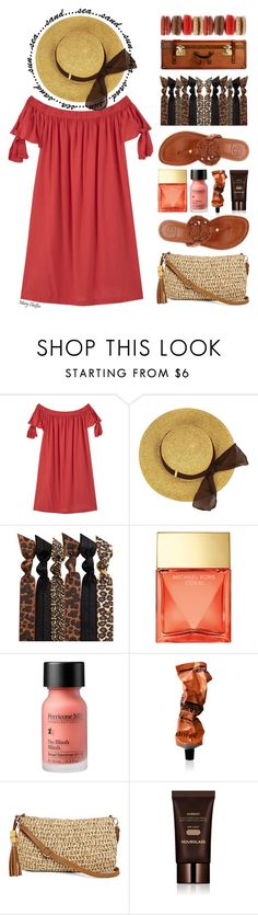"""""""Mini Vacation Style"""" by mcheffer ❤ liked on Polyvore featuring MANGO, Emi-Jay, Michael Kors, Perricone MD, Aesop, Straw Studios, Hourglass Cosmetics, Tory Burch, hat and strawbags"""