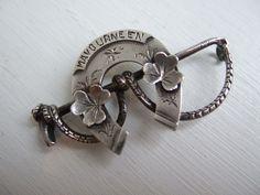 "19thC Silver SWEETHEART HORSESHOE Riding BROOCH, IRISH ""Mavourneen""."