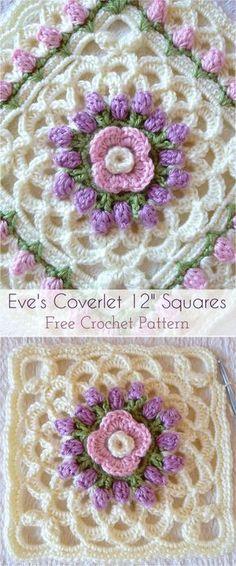 Eve's Coverlet 12″ Squares Crochet Afghan – Free Pattern #crochet #crochetlove