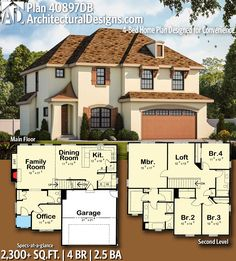 home Plans Design - Plan Home Plan Designed for Convenience Sims 4 House Plans, Two Story House Plans, House Floor Plans, The Plan, How To Plan, Home Design Plans, Plan Design, Architectural Design House Plans, Architecture Design