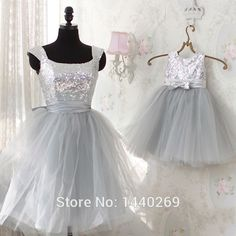 Find More Flower Girl Dresses Information about 2014 Two Pieces Mother Daughter Dresses Party for Weddings Scoop Neckline Sequined Tulle Tiered Short Bridesmaid Gown,High Quality party dress white,China party formal dress Suppliers, Cheap party fancy dress from Meilingda Bridal on Aliexpress.com