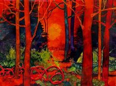 Red Wood, 062415 by Carol Nelson mixed media ~ 6 x 8