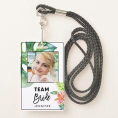 Fun Floral Tropical Team Bride Bachelorette Party Badge Custom Office Retirement #office #retirement