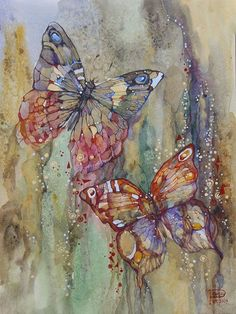 "art-and-dream: "" Art painting wonderful style by Podgaevskaya Marina "" Butterfly Painting, Butterfly Art, Watercolour Butterfly, Silk Painting, Painting & Drawing, Art Papillon, Art Watercolor, Inspiration Art, Journal Inspiration"