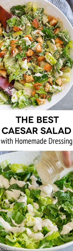 Caesar Salad Recipe with Homemade Caesar Salad Dressing - this is the best!You'll never want store bought dressing again! #caesardressing #caesarsalad #salad #dressing