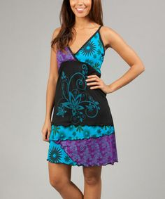 Look what I found on #zulily! Black & Turquoise Floral Ursula Surplice Dress #zulilyfinds