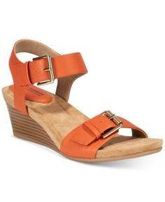 Giani Bernini Bryana Memory Foam Wedge Sandals, Only at Macy's - Orange 10.5M