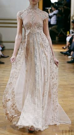 Zuhair Murad ivory lace high neck gown
