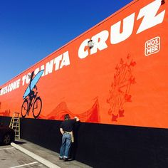 Thank you Steve Hosmer for touching up our favorite mural @rideepicenter !!! #Hosmer #stokesigns #ride831 #santacruz #epicentercycling #bicycles #mural #realart #wip