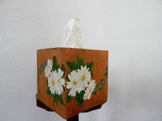 Tissue Box Cover, Kleenex Box Cover, Cover for kleenex Box, Daisy Decor, Wooden Tissue Box Cover, Daisy kleenex Box Cover, Daisy Painting by SealsFamilyWoodworks on Etsy