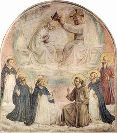 Fra Angelico, La Virgen Coronada por Cristo en Presencia de Seis Santos.1437-1446. Museo de San Marco, Florencia. La escena se podrá enriquecer con un séquito celestial y la presencia de santos. El tema se puede representar conjuntamente con la Asunción.