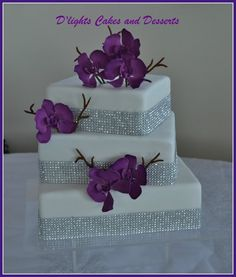 Purple White Square Wedding Cake. With Bling. Credit: Wedding Wire