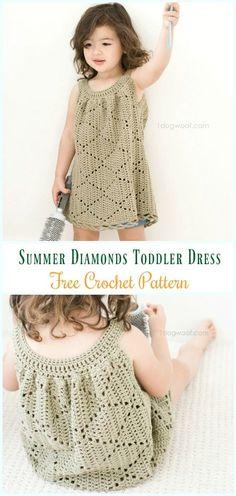 Crochet Summer Diamonds Toddler Dress Free Pattern- #Crochet Girls #Dress Free Patterns