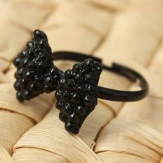 Black Rhinestone Crystal Bowknot Bow Tie Finger Ring Women Jewelry at Banggood