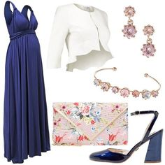 Elegante in blu  outfit donna Chic per cerimonia e serata elegante. Vestiti  FormaliBlazerVestito Fazzoletto e5d84e3920b