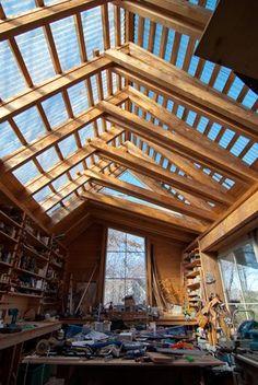 Winkelman Architecture | Portfolio | Maine Residential backyard workshop... translucent roof