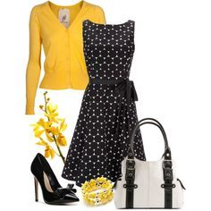 Black & white polka dot dress by lisariverarph on Polyvore featuring Wallis, Friendly Hunting, Carvela Kurt Geiger, Kelly & Katie, Croft & Barrow and blk/wht polka dot dress/yellow cardigan