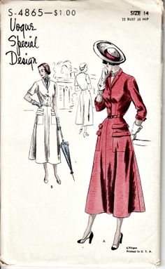 1940's Retro Vogue Special Design  VOGUE S4865 by shellmakeyouflip, $65.00