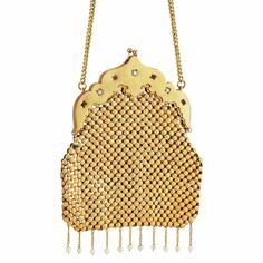 Chinese Antique Gold, Gem-Set and Pearl Evening Purse with Carrying Chain  20 kt., topped by a scalloped frame accented by 3 old European-cut diamonds .