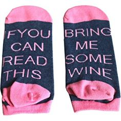 SurBepo If You Can Read This Bring Me Some Wine Coffee Beer Gift Knitting Word Combed Cotton Crew Socks for Men Women