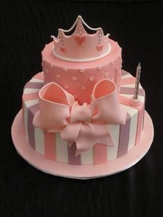 Little girls first birthday cake cake-decorating Crazy Cakes, Fancy Cakes, Cute Cakes, Pretty Cakes, Torta Princess, Pink Princess, Princess Birthday, Princess Style, Princess Party