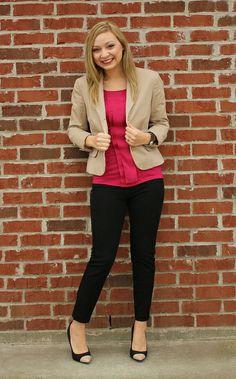 goodwillista   pink blouse + tan blazer + black pants + cap toe heels  goodwillista.blogspot.com