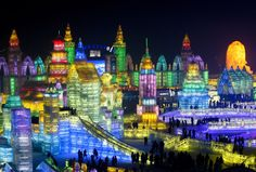 The Harbin Snow and Ice Festival in China has opened on its anniversary.With over 7000 sculptors, the snow and ice festival is the largest in the world.With its stunning designs and incredible co. Harbin, Ice Festival China, Ice Art, Snow Sculptures, Winter Festival, Festival 2016, The Weather Channel, Winter Travel, Winter Fun