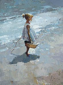 With the catch, Alexi Zaitsev- girl with the basket of fish, impressionism, painting Icelandic Artists, Beach Watercolor, Painting Still Life, Blue Canvas, Artist Painting, Painting Inspiration, Art For Sale, Buy Art, Art Gallery