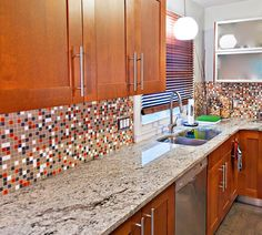 Our  Brio Mid Century glass mosaic blend designed, by the editors of Atomic Ranch Magazine. www.modwalls.com