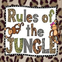 Jungle Theme Classroom Rule Poster Back to School Class Rules Posters